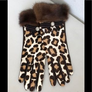 Coach Leather/Fur Leopard Look Gloves